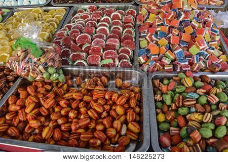Various sweets in the market to offer customers.