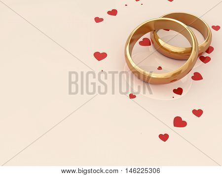 Golden wedding rings on beige background with red hearts with copy space , Marriage , 3d illustration