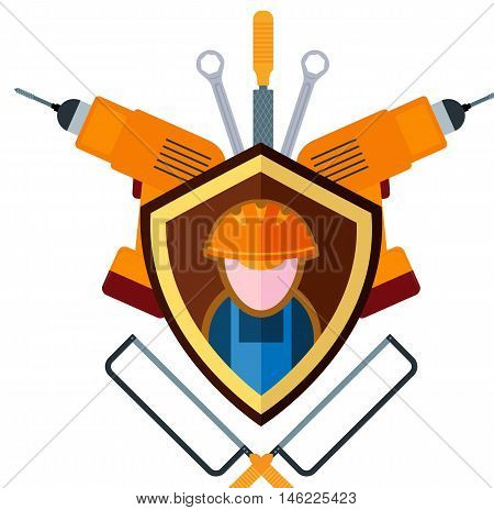 Flat emblem of the builder and working tools