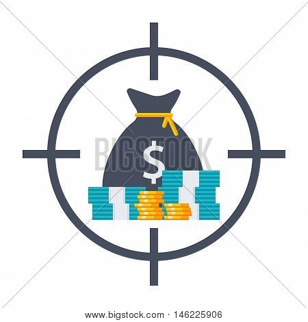 Business goals concept with money in crosshair.