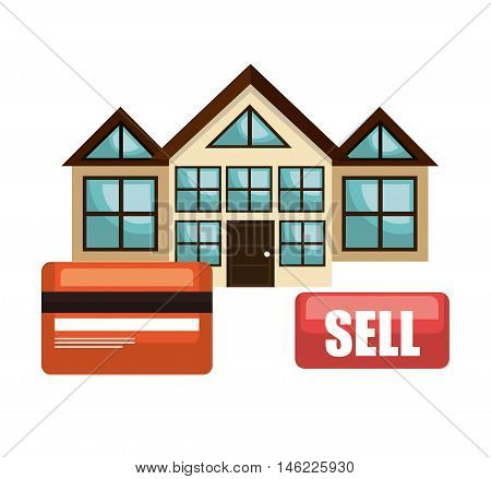 house real estate sell credit card business design vector illustration eps 10