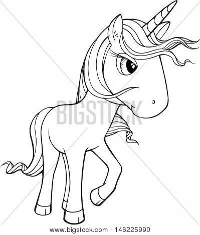 Cute Doodle Unicorn Vector Illustration Art