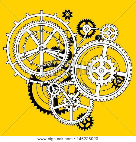 White and black linear gear wheels in flat style hole on yellow background. Techno symbol and background