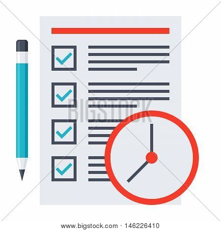 Time management concept with document, pencil and clock.