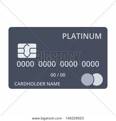 Platinum debit card templates in flat style.