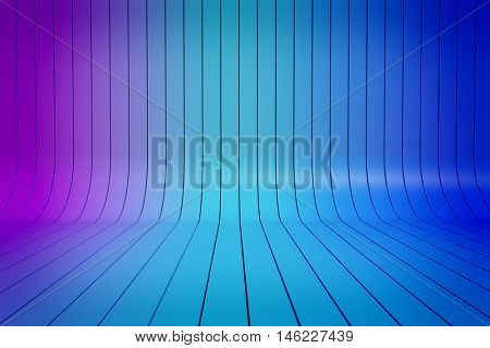 Abstract 3D blue gradient stripes horizontal background. 3D rendering of bent painted planks row.