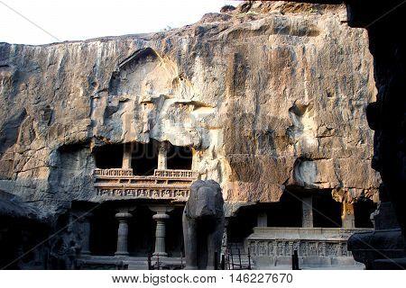 Rock-cut multi-storey Kailash Cave Temple at Ellora Maharashtra India Asia
