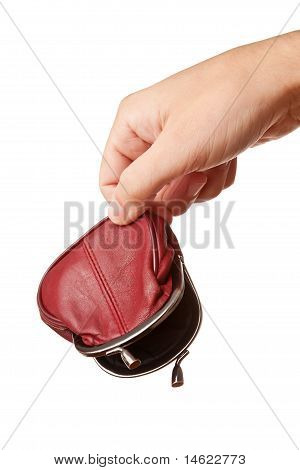 Hand holding empty money pouch