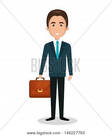 cartoon man executive business briefcase isolated vectorillustration esp 10
