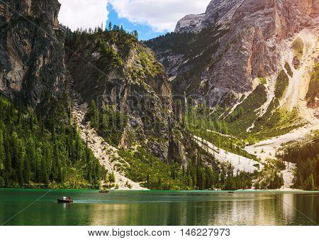 Amazing view of Braies Lake (Lago Di Braies Pragser Wildsee) in Northern Italy.