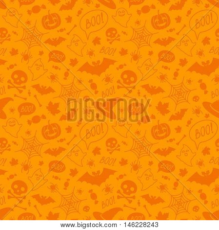 Halloween orange festive seamless pattern. Endless background with pumpkins skulls bats spiders ghosts bones candies spider web and speech bubble with boo