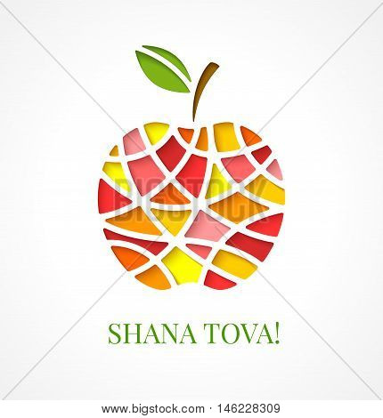 Design template with cut out multicolor apple. Greeting card design for Jewish New Year Rosh Hashanah. Vector illustration