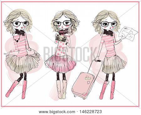 set with three cute cartoon vector girls