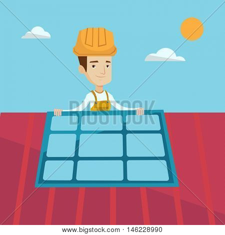 Young smiling man installing solar panels on roof. Technician in inuform and hard hat checking solar panels on roof. Eengineer adjusting solar panels. Vector flat design illustration. Square layout.