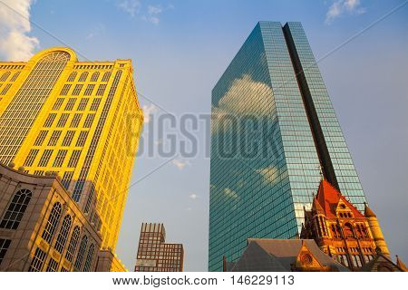 Boston,Massachusetts,USA - July 4,2016: Golden Five Hundred Boylston Building in Boston Massachusetts. This building in the Back Bay in known as the headquarters of the fictional Crane Poole & Schmidt law firm from the TV show Boston Legal.