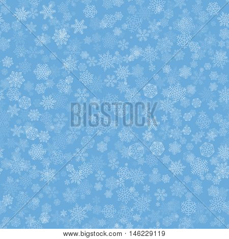 Vector Snowflakes Background. White falling snow on blue color. Christmas ornament for sales banner, New Year card, gift paper, wallpaper design. Winter sky backdrop. Seamless pattern.