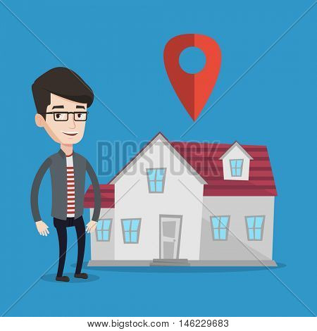 Young smiling real estate agent standing on a background of map pointer above the house. Happy male real estate agent offering house. Vector flat design illustration. Square layout.