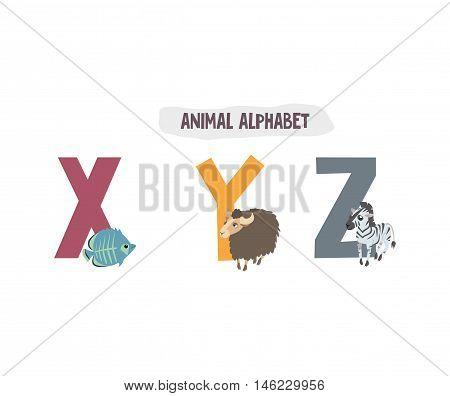 alphabet and animals. book for children. fish yak zebra. X Y Z