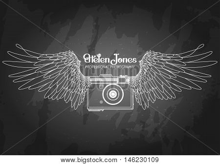 Graphic vintage camera with two wings. Conceptual art for web sites, business cards and other corporate identitys for the photographers.