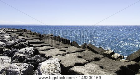 Coast Of Calabria Amantea Italy, Panorama With Breakwater