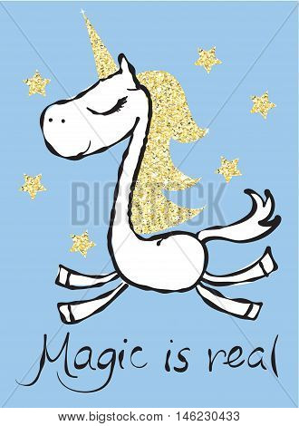 Vintage typography poster with gold magic unicorn. Trendy hipster style card design, t-shirt print