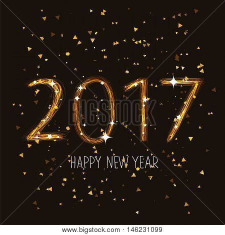 Figures 2017. Happy New Year. The trend calligraphy. Illustration on the background of Chen. Great holiday gift card. Beautiful fireworks.