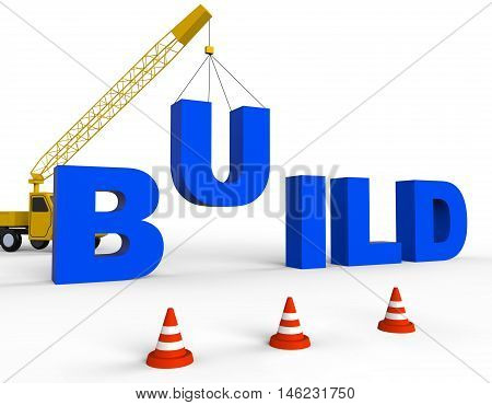 Build Word Means House Building 3D Rendering
