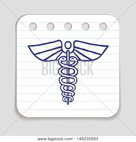 Caduceus emblem icon. Blue pen hand drawn infographic symbol. Notepaper piece. Line art style graphic element. Web button with shadow. Herald wand with wings and two serpents.