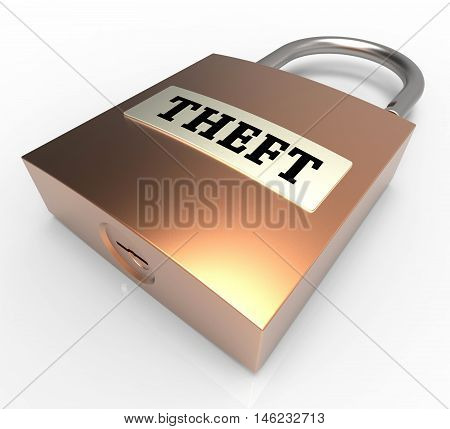 Theft Padlock Means Security Protection 3D Rendering