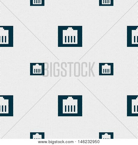 Internet Cable, Rj-45 Icon Sign. Seamless Pattern With Geometric Texture. Vector