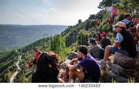 CASTELLON - SEPTEMBER 7: Unidentified people wait for cyclist to arrive to Mas de la Costa mountain in the stage of la vuelta on September 7, 2016 in Castellon, Spain