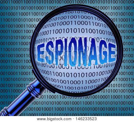 Computer Espionage Represents Digital Theft 3D Rendering