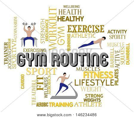 Gym Routine Represents Getting Fit Drills Or Plan