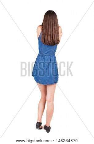 back view of standing young beautiful  woman. cool girl. Rear view people collection.  backside view of person.  Isolated over white background.
