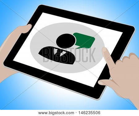 Voip Tablet Means Broadband Telephony 3D Illustration