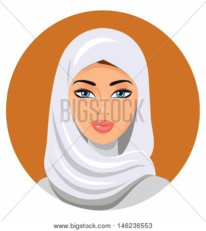Beautiful muslim woman in hijab  isolated on a white background. Portrait of a young muslim girl in hijab. Vector illustration.