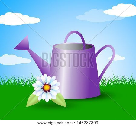 Watering Can Represents Gardens Outdoors And Plants