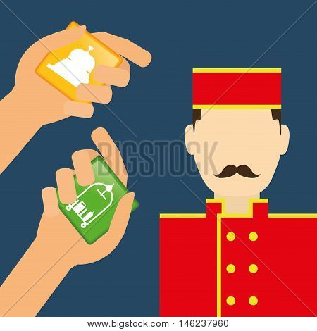 Bellboy and hotel apps. Service technology media and digital theme. Colorful design. Vector illustration
