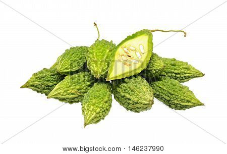 heap of balsam apple isolated on a white background