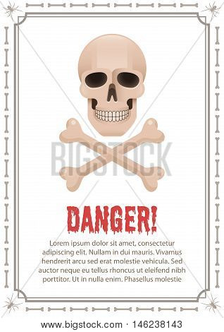 Poster of danger with skull and crossbones. Danger alert placard with description text.