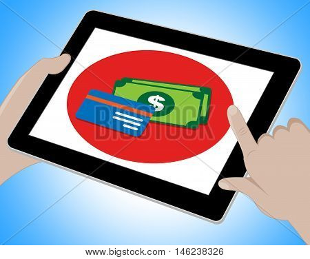 Dollars Tablet Indicates United States Money 3D Illustration