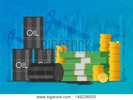 Oil cask, gold coins and piles of money. Business and finance markets concept vector illustration.