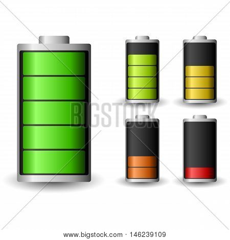 Battery charge status. Recharging accumulator. Isolated vector illustration