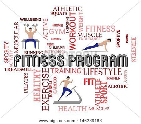Fitness Program Indicates Working Out And Aerobics