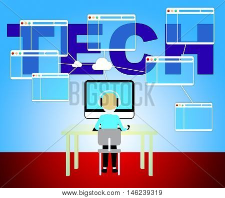 Computer Technology Represents Internet Web And Www