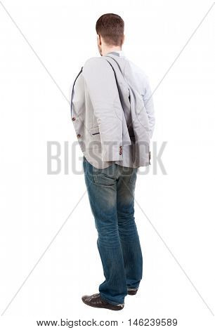 back view of Business man looks. Businessman sits throwing his jacket on the back.