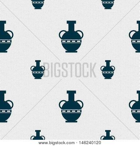 Amphora Icon Sign. Seamless Pattern With Geometric Texture. Vector