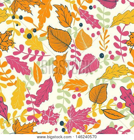 Seamless background for Thanksgiving holiday with autumn leaves and berries falling down. Vector illustration