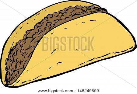 Single Beef Taco Over White