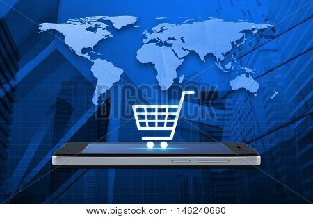 Shopping cart icon on modern smart phone screen over map and city tower background Shop online concept Elements of this image furnished by NASA